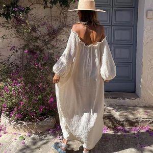 Natural Boho Flows Shift Maxi Dress In Cotton